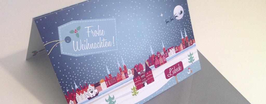 Screenshot Weihnachtskarten mit Lübeck Motiv