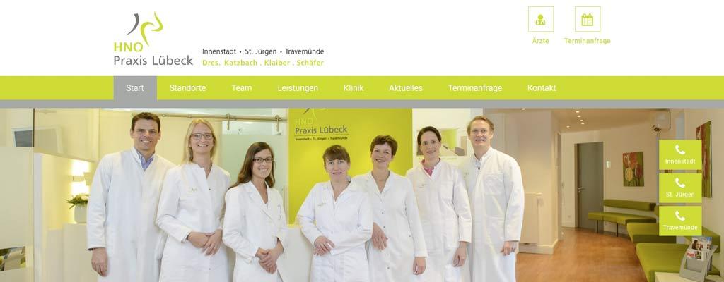 Screenshot Neue responsive Webseite für die HNO Praxis Lübeck