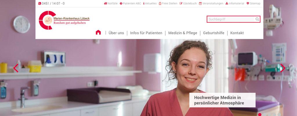Screenshot Neue responsive Webseite für das Marien-Krankenhaus Lübeck